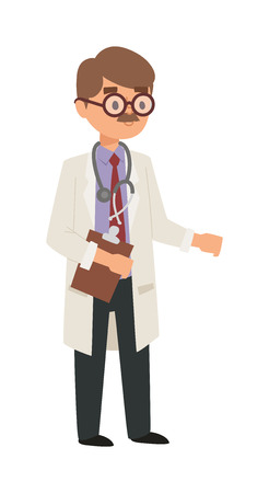 practitioner: Doctor cartoon vector illustration. Doctor man with medical documents, health specialist. Doctor silhouette professional hospital people. Man surgeon practitioner coat