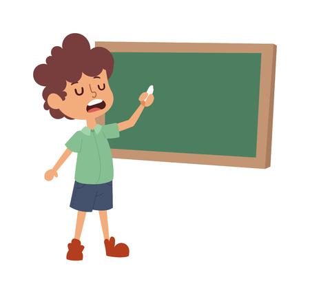 schoolboy: Concept of simple lesson of child at school. Smiling cute portrait school boy grade little kid class board. Elementary schoolboy kid happy chalk knowledge school boy class board. Illustration