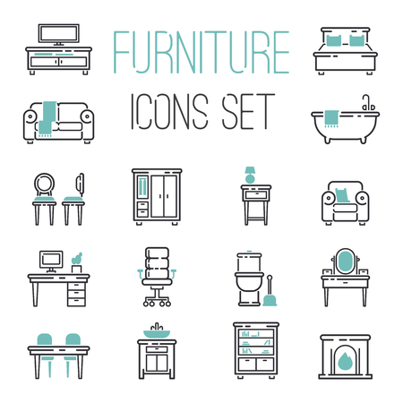 Furniture and home decor icon set vector illustration. Indoor cabinet interior room library, office bookshelf furniture icons. Modern closet bedroom silhouette furniture icons outline decoration.