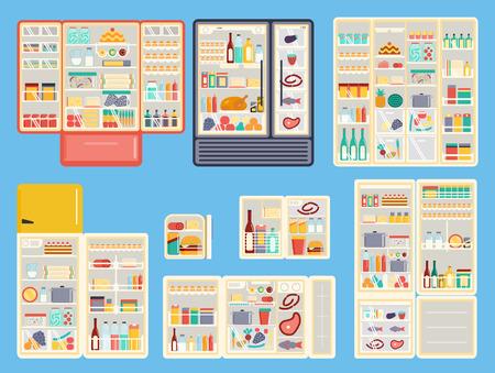 alimentos y bebidas: Ilustración de productos refrigerador abierto con comida, bebidas y utensilios de cocina. productos refrigerador congelador abierta de fruta de la cocina los alimentos aparato. Conjunto de productos refrigerador abierto vector contenedor lleno.
