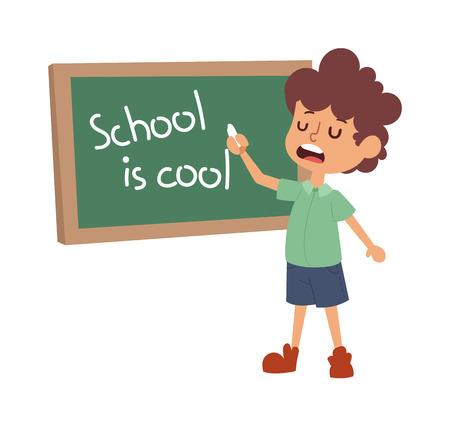 kid école étude en cours, l'enfance vecteur de caractères de l'enseignement primaire heureux. École d'éducation d'enfant et heureux étude enfant d'école à l'école primaire. Les écoliers de la classe d'âge préscolaire.