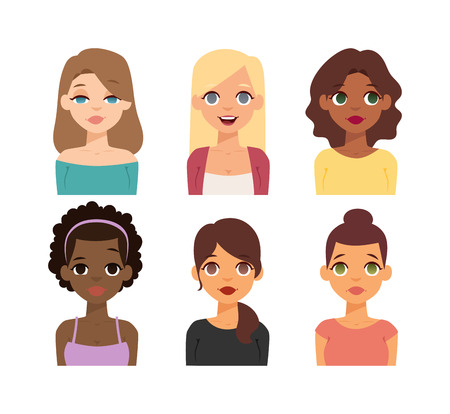 nationalities: Group girls face nationality race avatars. Flat design characters woman people nationality race. Set diverse avatars girls people nationality race. Different woman face nationalities hair styles. Illustration