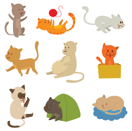 Cats collection vector silhouette. Cute domestic cats different animals. Different cats young adorable tail symbol playful paw. Cartoon funny standing drawing domestic pussy characters set. 矢量图片