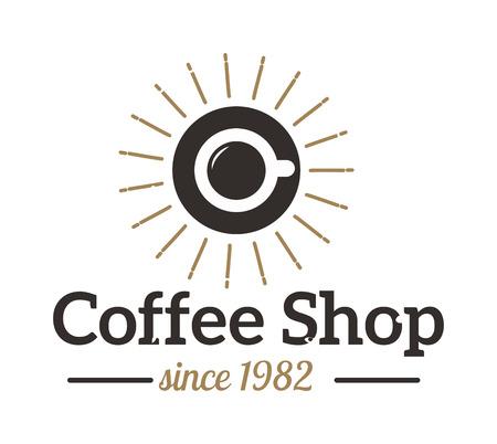 Coffee logo shop sign cafe symbol espresso design morning drink modern badge vector. Coffee logo cafe symbol and morning coffee logo. Coffee mug logo label espresso vintage elements.
