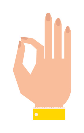 okey: Okey hand success symbol, ok hand yes agreement. Ok hand signal business human agree. Best approval accept. Silhouette of hand showing symbol Ok finger thumb vector illustration. Illustration