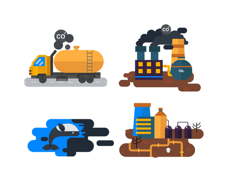 destruction: Ecological problems, environmental pollution of water, earth, air, deforestation, destruction of animals vector. Mills factories forest landscape environmental pollution. Environmental protection.
