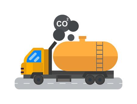 metal barrel: Oil logistic transportation business and oil logistic industrial transportation container. Oil logistic petroleum transportation, truck car, tanker metal barrel flat vector illustration.