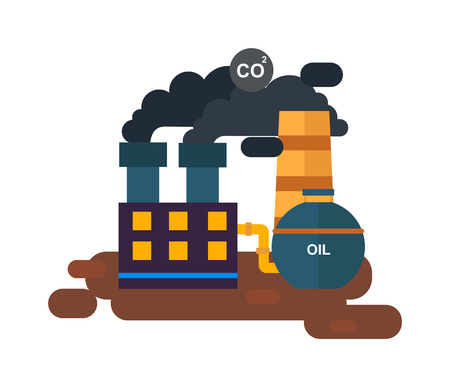 power station: Flat factory power station flat vector illustration. Factory station vector. Factory building with black smoke, station energy industry. Pollution problems station factory vector. Energy industry. Illustration
