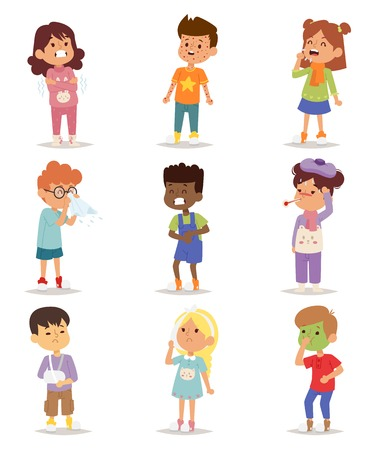 Children sick sickness disease little kids characters set. Flu problem health stick sick children figure pictogram icons. Sad influenza sick children little people hospital resting childcare. 矢量图像