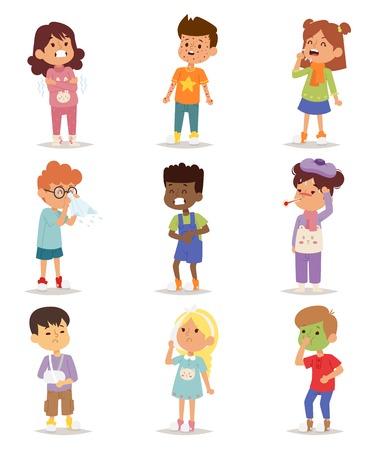 Enfants maladie de maladie de maladie caractères peu d'enfants fixés. Flu problème bâton de la santé des enfants malades figurent les icônes de pictogramme. grippe Sad enfants malades petites personnes hôpital de repos de garde d'enfants.