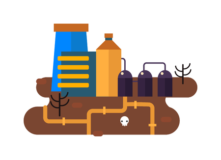 mills: Ecological problems, environmental pollution of water, earth, air, deforestation, destruction of animals vector. Mills factories forest landscape environmental pollution. Environmental protection.