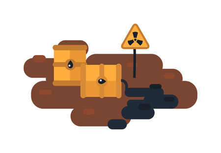 barrels with nuclear waste: Plastic containers and garbage lying on chemical contaminated nuclear waste. Vector illustration nuclear waste toxic pollution. Radioactive danger nuclear waste chemical industrial storage ecology.