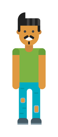 latinamerican: Young attractive latin or spanish business man standing full body in corporate portrait isolated smiling. Latin-American man cartoon style. Vector Latin-American man character. Illustration