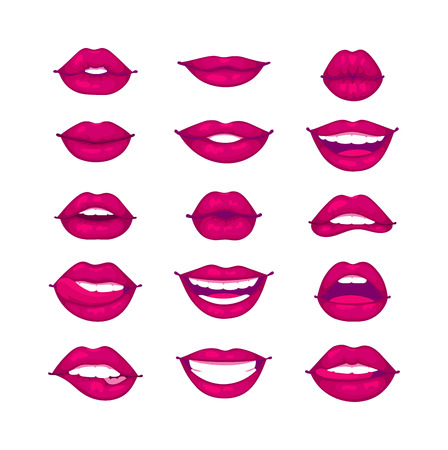 sensuality: Female lips isolated on white sweet passion lust makeup mouth. Set woman lips romance cosmetic sensuality desire. Set of mouth smile woman red woman lips isolated shape romantic