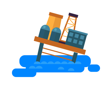 sea pollution: Sea oil rig platform crash symbol and oil drill rig in sea flat vector. Sea oil rig offshore platform technology flat vector illustration. Pollution problems