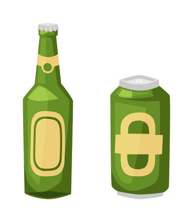 condensation on glass: Beer bottle on white background and vector beer bottle. Alcohol drink bottle beverage liquid cold and pub lager beer bottle. Bottle fresh dark cold beer Illustration