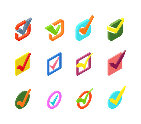 right choice: Check box vector icons vector set. Check vote icons vote mark sign choice yes symbol. Correct design check vote icons check mark right agreement voting form. Button question choose success graphic. Illustration