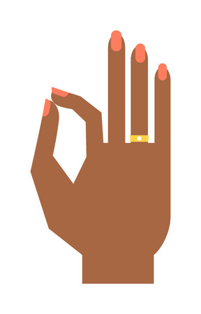 hand signal: Okey hand success symbol, ok hand yes agreement. Ok hand signal business human agree. Best approval accept. Silhouette of hand showing symbol Ok finger thumb vector illustration. Illustration