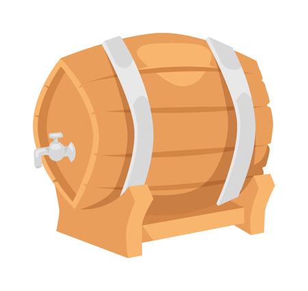 keg: Wooden oak barrel isolated on white background. Beer barrel old wood drink container vintage keg isolated. Winery container, storage oak green beer barrel brewery dark vat aging vector. Illustration