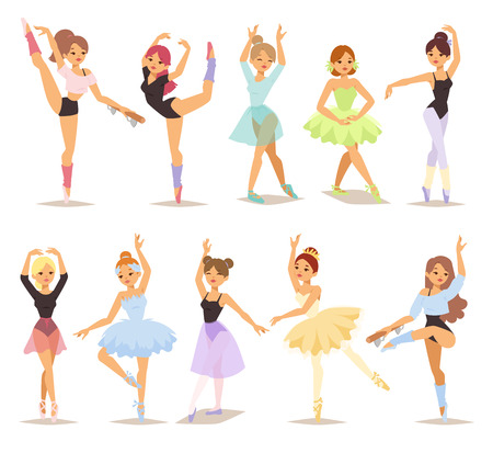Kolekcja sześciu sylwetki kobiecej nowoczesnej współczesny tancerz. Profesjonalna tancerka baletowa, stwarzających. Piękna kobieta kobiet młodych tutu baleriny tancerzy znaki ustawione. Performer urody ćwiczenia