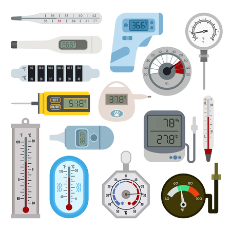 sweltering: Thermometer icon vector medicine mercury indicator. Celsius and Fahrenheit thermometers measuring hot and cold temperature. high, Measure glass thermometers household blue measurement equipment.