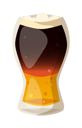 dark lager: Beer glass isolated on white background. Dark beer cup alcohol alcohol drink. Beer cup mug liquid white foam and bubble cold drip refreshment Illustration
