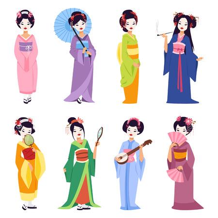 Vector set of kokeshi dolls japanese geisha girls. Colorful kimono pretty traditional woman beautiful makeup japanese geisha girls. Japanese geisha girls fashion culture beauty art. Vectores