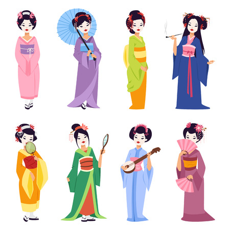 Vector set of kokeshi dolls japanese geisha girls. Colorful kimono pretty traditional woman beautiful makeup japanese geisha girls. Japanese geisha girls fashion culture beauty art. Stock Illustratie