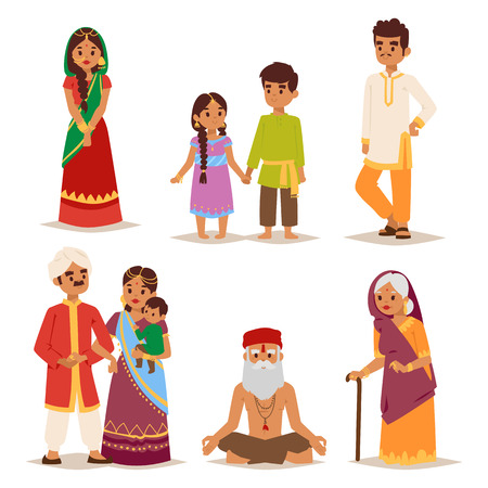 asian ethnicity: Vector illustration of Indian couple of different culture standing together. Indian people female happy person. Ethnicity cheerful casual Indian people, traditional boy and girl character.