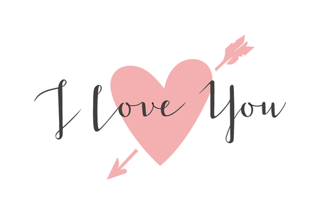Vector I love You hand drawn lettering text. Inspirational quote I Love You text follow your heart romantic type. I love You have greeting sign message decoration. Vektorové ilustrace