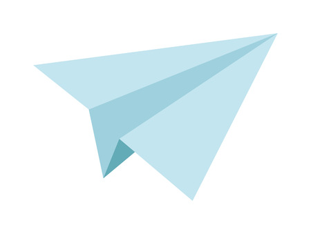 toy plane: Paper toy plane isolated on white background. Cartoon toy plane vector. Toy plane origami paper airplane and retro flight travel symbol. Free dreams, imagination concept.