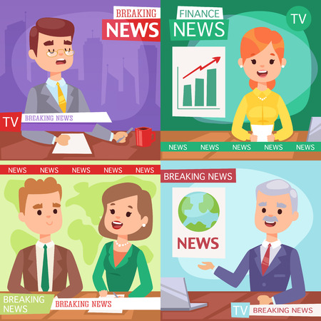 newsreader: Vector Illustration anchorman breaking news and tv screen layout. Professional interview men newsreader breaking news anchor. Communication broadcast newscaster breaking news anchor journalist. Illustration