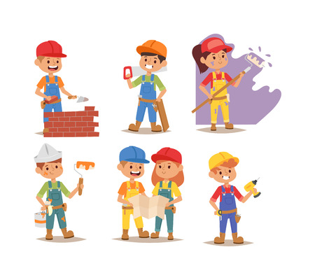 Builders kids boy and girl builder with tools. Vector character builder kid, cute child construction. Little person work equipment. Fun young profession. Vettoriali