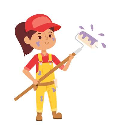 fun at work: Builders kid artist painting girl builder with tools. Vector character builder kid, cute child construction. Little person work equipment. Fun young profession.