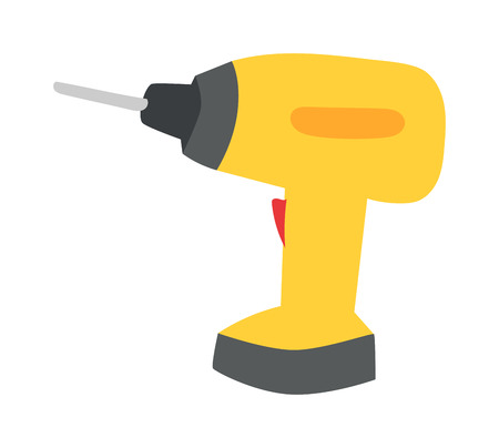 electro: Drill hand tool flat vector. Hand drill electro tool. Electric screwdriver icon. Some flat hand drill isolated on white background.