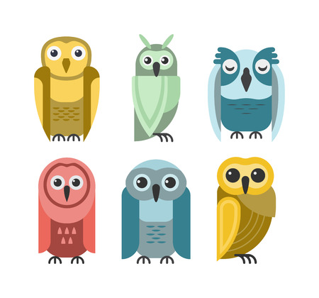 animal behavior: Cute vector collection of bright cartoon owls. Animal character cartoon owl comic funny collection. Doodle cheerful birds behavior cartoon owl Illustration