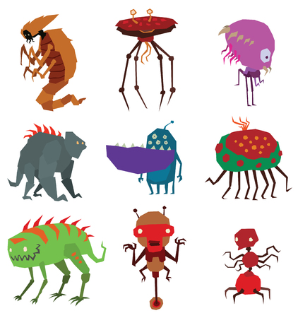 mutant: Cartoon aliens monsters set graphic mutant collection. Colorful toy cute aliens monsters cute cartoon creature funny animal. Vector Halloween aliens monsters happy ugly set comic cool toy. Illustration
