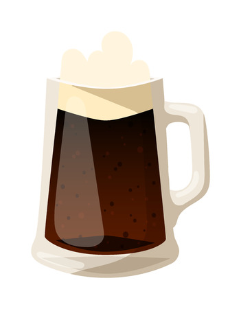 dark beer: Beer glass isolated on white background. Dark beer cup alcohol alcohol drink. Beer cup mug liquid white foam and bubble cold drip refreshment Illustration