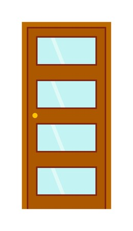 front door: Color door isolated on white. Colorful front door to house and building in flat design style isolated. Vector illustration door isolated modern new decoration open elegant room lock
