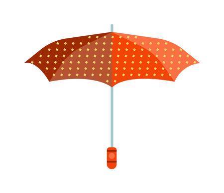 comfort: Cute multi colored umbrella in flat design style. Autumn accessory concept fashion umbrella. Colorful flat comfort umbrella outdoor element, climate protective sign.