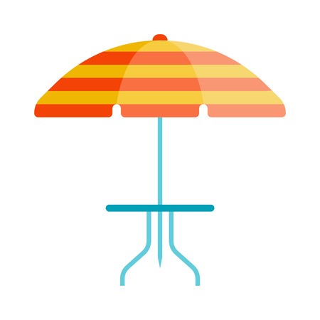 Cute multi colored beach umbrella in flat design style. Autumn accessory concept fashion umbrella. Colorful flat comfort umbrella outdoor element, climate protective sign.