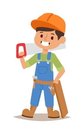 fun at work: Builders kids carpenter builder with tools. Vector character builder kid, cute child construction. Little person work equipment. Fun young profession.