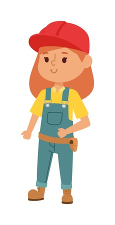fun at work: Builders kid girl builder with tools. Vector character builder kid, cute child construction. Little person work equipment. Fun young profession. Illustration