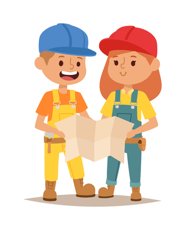 fun at work: Builders kids boy and girl builder with tools. Vector character builder kid, cute child construction. Little person work equipment. Fun young profession. Illustration