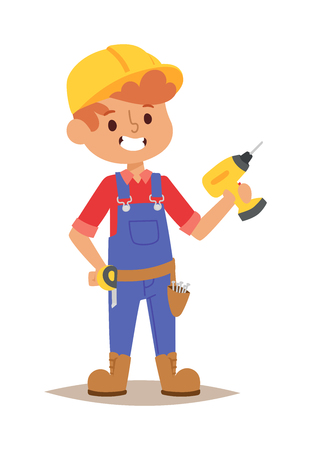 fun at work: Builders kid with drill builder with tools. Vector character builder kid, cute child construction. Little person work equipment. Fun young profession. Illustration