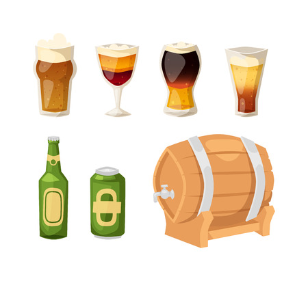 intoxicating: Beer vector icons set. Beer bottle, glass and different types of beer label. Alcohol drinks cups vector icons isolated. Oktoberfest beer light and dark drink vector cups mugs