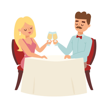 woman drinking wine: Young smiling dating couple enjoying meal restaurant and drinking. Man whispering to woman wine glass, dating couple restaurant.