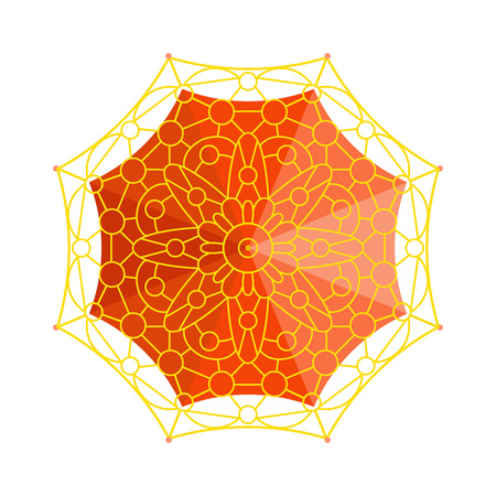 comfort: Cute multi colored umbrella top view in flat design style. Autumn accessory concept fashion umbrella. Colorful flat comfort umbrella outdoor element, climate protective sign.
