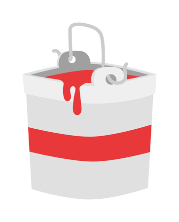 paint bucket: Paint bucket vector icon. Flat paint bucket cartoon vector illustration. Paint bucket with red color ink. Art work bucket container.