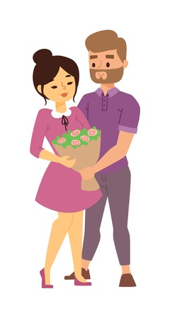 couple in summer: Happy romantic couple in love and having fun with daisy outdoor in summer day. Beauty nature couple in love harmony concept. Couple in love dating pair, hipster guy outdoor leisure. Illustration